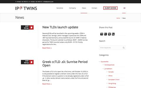 Screenshot of Press Page iptwins.com - News | IP Twins – Domain names and Online brand protection - captured July 25, 2018