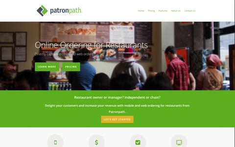 Screenshot of About Page Testimonials Page patronpath.com - Larger Tickets w/ Online Ordering for Restaurants - Patronpath - captured Sept. 17, 2014