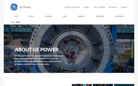 Screenshot of About Page ge.com - About General Electric Power   GE - captured March 28, 2019
