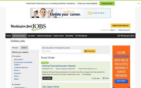 Screenshot of Jobs Page washingtonpost.com - Utilities jobs - captured Oct. 30, 2016