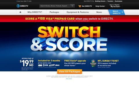 Screenshot of Home Page directv.com - DIRECTV Satellite TV - Official Site | 1-800-490-4388 - captured Jan. 30, 2016