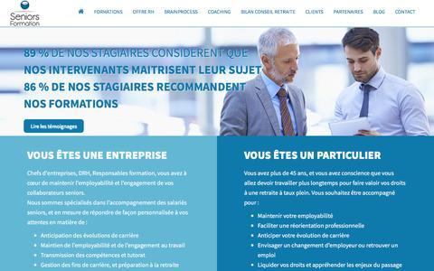 Screenshot of Home Page seniors-formation.fr - Seniors Formation - Accompagnement des contrats de génération - captured Feb. 3, 2016