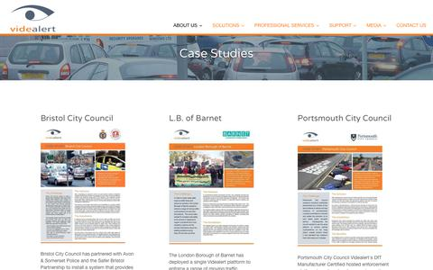 Screenshot of Case Studies Page videalert.com - Case Studies - Videalert Videalert   Think traffic, think CCTV, think Videalert - captured June 13, 2017