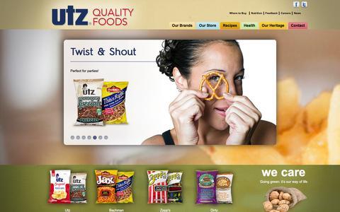 Screenshot of Home Page utzsnacks.com - UTZ Quality Foods - captured Feb. 17, 2016