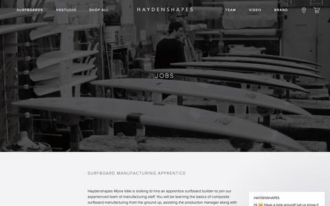 Screenshot of Jobs Page haydenshapes.com - HAYDENSHAPES says… - captured Sept. 27, 2018
