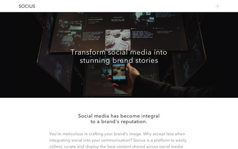 Screenshot of Home Page sociuslive.com - Socius is a platform for brands to easily collect, curate and unite the best user generated content across social media into an engaging branded social hub - captured Sept. 12, 2014