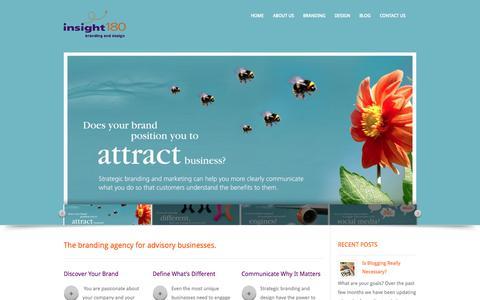 Screenshot of Home Page insight180.com - Branding agency for advisory businesses | Maryland, DC, Virginia | - captured Sept. 30, 2014