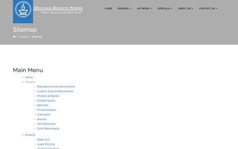 Screenshot of Site Map Page delphosgraniteworks.com - Delphos Granite Works - Sitemap - captured Aug. 6, 2018