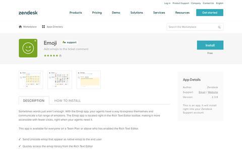Screenshot of Support Page zendesk.com - Emoji App Integration with Zendesk Support - captured Aug. 5, 2018