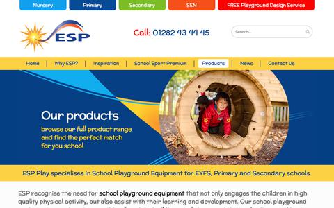 Screenshot of Products Page espplay.co.uk - Playground Systems | Commercial Playground Equipment - ESP Play - captured July 15, 2018