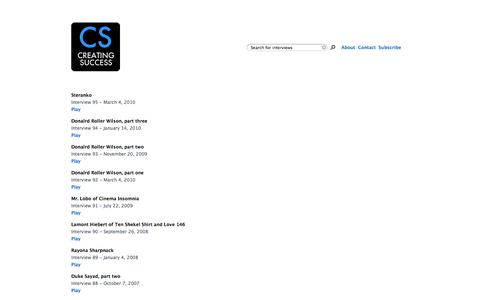 Screenshot of Site Map Page creatingsuccesspodcast.com - Creating Success - interviews with successful people - captured Oct. 3, 2014