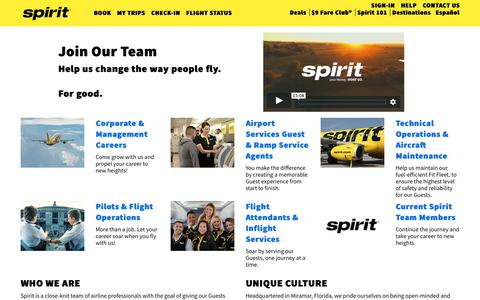 Screenshot of Jobs Page spirit.com - Join Our Team | Spirit Airlines - captured March 17, 2019