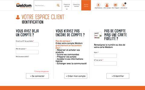 Screenshot of Login Page weldom.fr - Identifiant client - captured Oct. 28, 2017