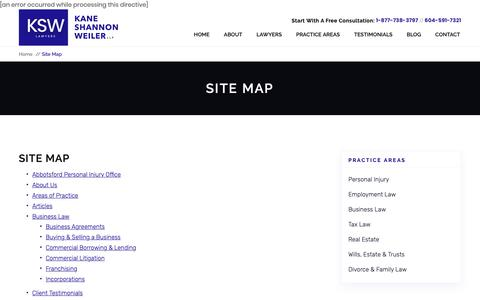 Screenshot of Site Map Page ksw.bc.ca - Site Map | Kane Shannon Weiler LLP | South Surrey/White Rock - captured Oct. 14, 2018