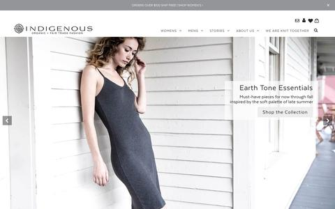 Screenshot of Home Page indigenous.com - Organic, Fair Trade, Ethical, Sustainable Fashion – Indigenous - captured Sept. 22, 2018