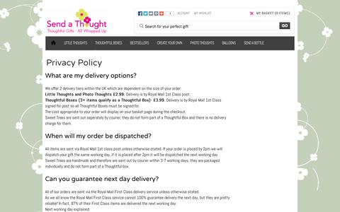 Screenshot of FAQ Page sendathought.co.uk - Send A Thought | FAQS - captured Oct. 9, 2014