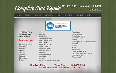Screenshot of Services Page weebly.com - Services - Complete Auto Repair Lakewood, CO  - Complete Auto Repair - captured Sept. 17, 2014