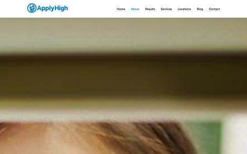 Screenshot of About Page applyhigh.com - An expert team with insider college admissions experience | Apply High - captured Sept. 30, 2014