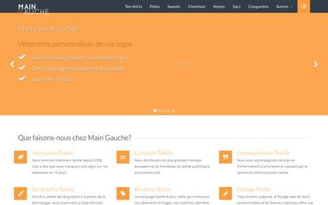 Screenshot of Home Page main-gauche.com - Main Gauche : Impression textile - Vêtements personnalisés - captured June 19, 2015