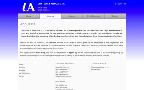 Screenshot of About Page uasolucions.com - About us| Urdí - Solé Associats - captured Feb. 4, 2016