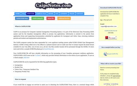 Screenshot of Services Page caipsnotes.com - CaipsNotes.com | How to request your CAIPS and GCMS file - captured Oct. 1, 2014