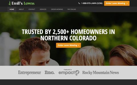 Screenshot of Home Page emilslawns.com - Emil's Lawns · Northern Colorado Lawn Care - captured Sept. 29, 2014