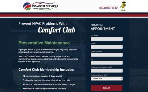 Screenshot of Landing Page comfortservices.com - Maintenance Services - captured Sept. 30, 2017