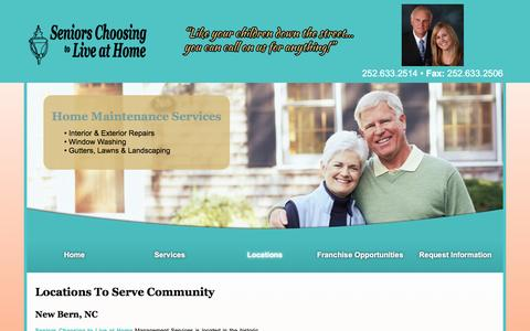 Screenshot of Locations Page seniorschoosingtoliveathome.com - Two Locations To Serve More Of The Community | New Bern, NC | Seniors Choosing to Live at Home - captured Feb. 23, 2016