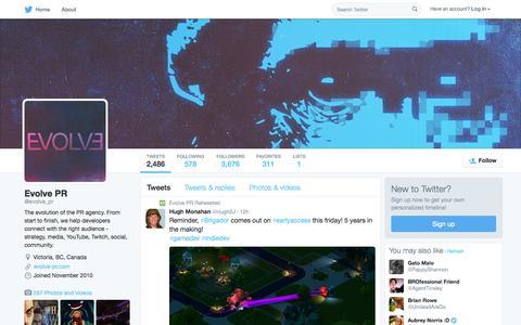 Screenshot of Twitter Page twitter.com - Evolve PR (@evolve_pr) | Twitter - captured Oct. 14, 2015