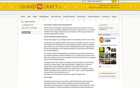 Screenshot of Support Page islandcraft.com - Customer Service - captured Oct. 6, 2014