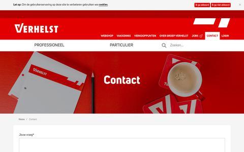 Screenshot of Contact Page verhelst.be - Contact -  Groep Verhelst - captured Sept. 26, 2018