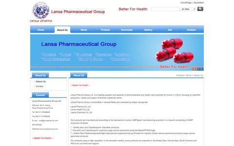 Screenshot of About Page lansapharma.com - Lansa Pharmaceutical Group - captured Oct. 25, 2016
