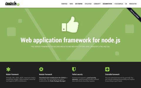 Screenshot of Home Page totaljs.com - total.js - Web application framework for node.js - captured Sept. 19, 2014