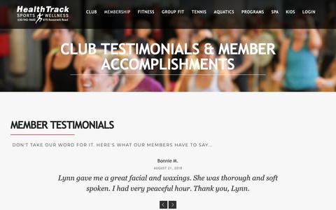 Screenshot of Testimonials Page htsw.net - Club Testimonials   HealthTrack - captured Nov. 10, 2018
