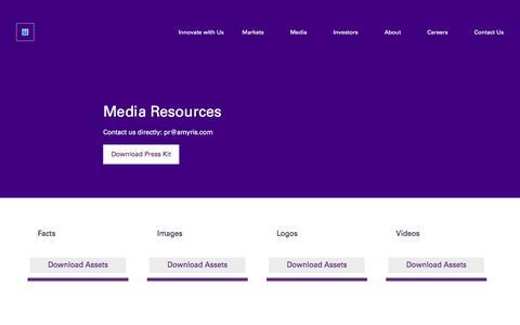 Screenshot of Press Page amyris.com - Media Resources » Amyris - captured July 7, 2019