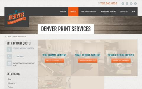 Screenshot of Services Page denverprintingcompany.com - Denver Print Services - Denver Print CompanyDenver Printing Company - captured Oct. 5, 2014