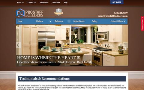 Screenshot of Testimonials Page prostaffbuilders.com - Testimonials - Prostaff Builders - captured Sept. 30, 2014