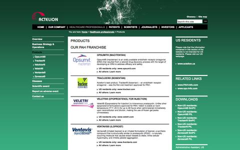 Screenshot of Products Page actelion.com - Products - captured Sept. 19, 2014
