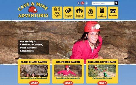 Screenshot of Home Page caverntours.com - Cave and Mine Adventures | Cave Tours and the California Zip Lines at Moaning Cavern Park - captured March 4, 2016