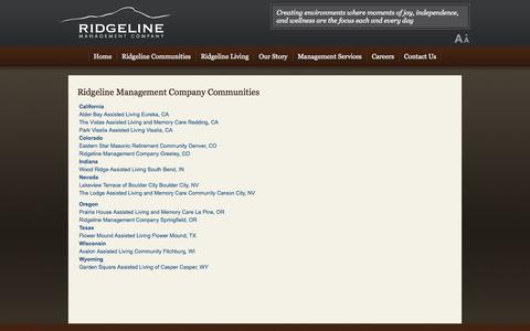 Screenshot of Locations Page ridgelinemc.com - Senior Living Locations - Ridgeline Management Company - captured Oct. 5, 2014