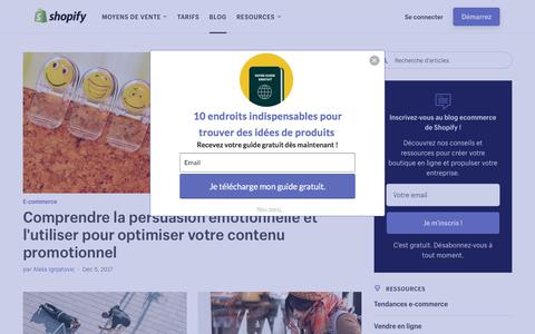 Screenshot of Blog shopify.com - Blog E-commerce et Marketing: créer votre site web - Shopify - captured Dec. 5, 2017