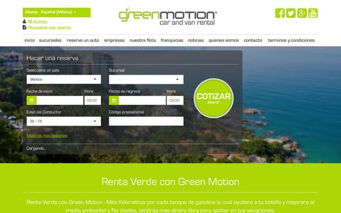 Screenshot of Home Page greenmotion.mx - Green Motion | Green Motion Car Rental | Renta de Autos | Promociones | - captured Aug. 29, 2016