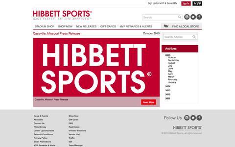 Screenshot of Press Page hibbett.com - Hibbett Sports • News - captured Oct. 21, 2015