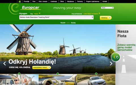 Screenshot of Home Page europcar.com.pl - Car Rental – Warsaw, Krakow, Wroclaw - Europcar - captured Sept. 23, 2014
