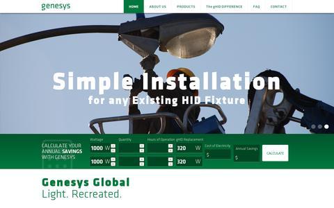 Screenshot of Home Page lightrecreated.com - Genesys Global - captured July 17, 2014