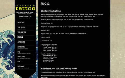 Screenshot of Pricing Page odysseytattoo.com - Odyssey Tattoo  » Pricing - captured Oct. 27, 2014