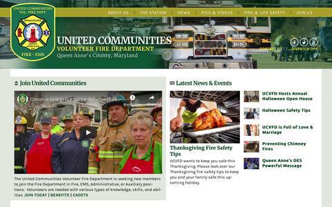 Screenshot of Home Page ucvfd.org - United Communities Volunteer Fire Department - Queen Anne's County, MD - captured Nov. 29, 2018