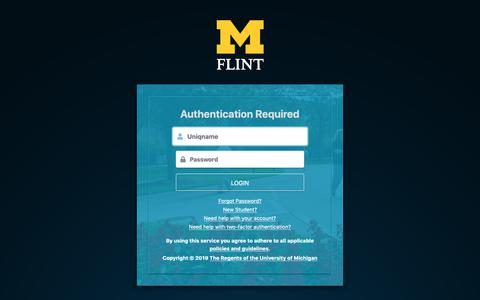 Screenshot of Login Page umflint.edu - Weblogin | University of Michigan-Flint - captured March 28, 2019