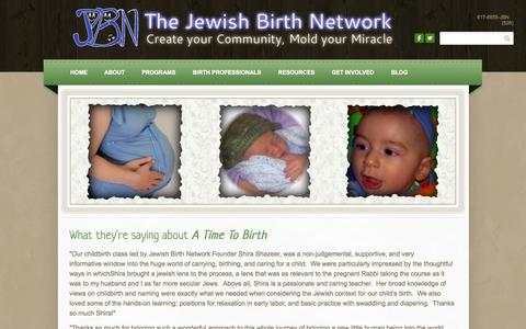 Screenshot of Testimonials Page jewishbirthnetwork.com - Testimonials - THE JEWISH BIRTH NETWORK Create Your Community, Mold Your Miracle - captured Oct. 6, 2014