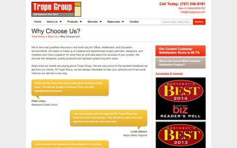 Screenshot of Testimonials Page tropegroup.com - Why Choose Us? - Trope Group (Herman Miller Dealer) - captured Oct. 9, 2014
